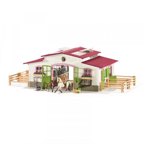 SCHLEICH Riding centre with rider and horses billede